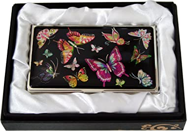 Mother of Pearl Butterfly Design Womens Black Business Credit Name ID Card Holder Case Metal Stainless Steel Engraved Slim Pu