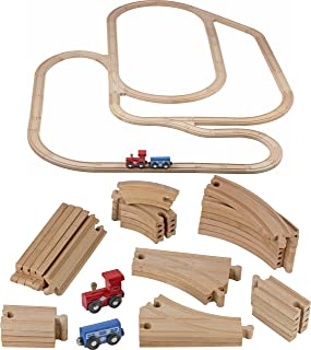 Play22 Wooden Train Tracks - 52 PCS Wooden Train Set + 2 Bonus Toy Trains - Train Sets for Kids - Car Train Toys is Compatible with Thomas Wooden Railway Systems and All Major Brands - Original