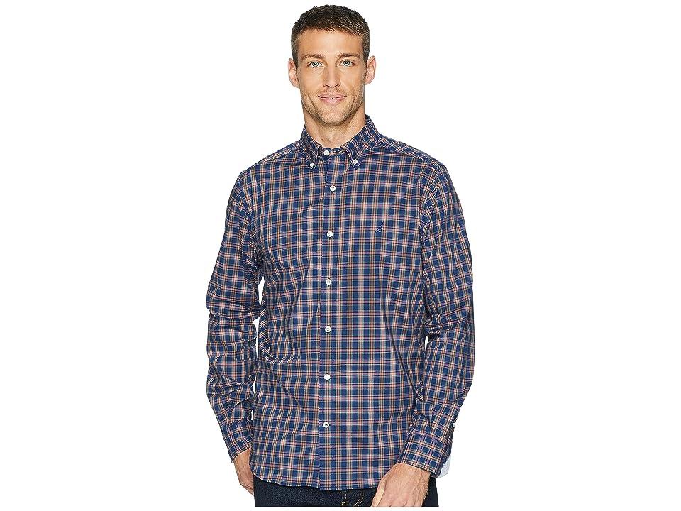 Nautica Long Sleeve Wear to Work Classic Plaid Woven Shirt (J Navy) Men