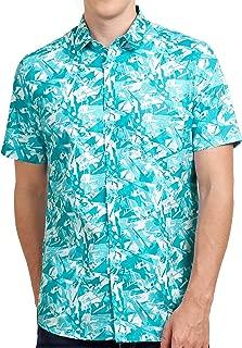 Tusok Men Short Sleeve Shirt Casual Hawaiian Flower Party Beach Vacation Aloha Sky Blue Zigzag Printed