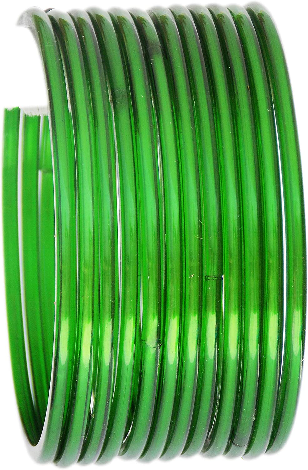 JD'Z Collection Traditional Indian Glass Bangles for Women/Girls- Bollywood Fashion Jewelry Green Bangals, Plain Thick Churi Ethnic Wedding Wear, Size-2.6
