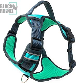 Black Rhino - The Comfort Dog Harness with Mesh Padded Vest for Small - Large Breeds | Adjustable | Reflective | 2 Leash Attachments on Chest & Back - Neoprene Padded Training Handle for Easy Control