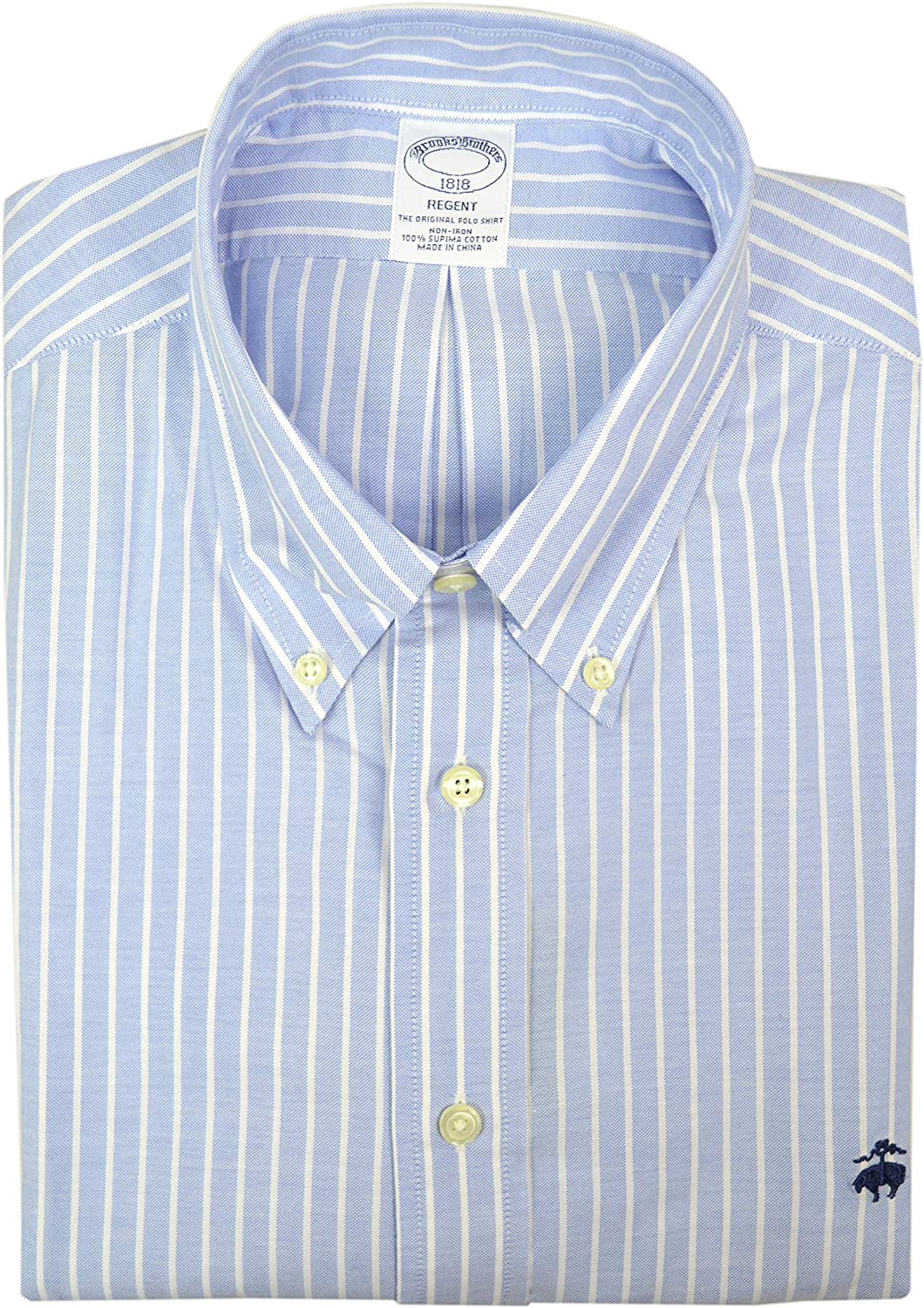 Brooks Brothers Mens Regent Fit 73047 All Cotton The Original Polo Button Down Shirt Light Blue White Striped