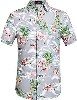 Men's Flamingos Casual Short Sleeve Aloha Hawaiian Shirt