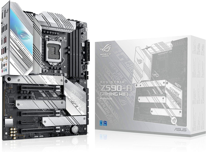 ASUS ROG Strix Z590-A Gaming WiFi - Placa Base (Intel Z590 LGA 1200 ATX con VRM de 16 Fases, PCIe 4.0, WiFi 6E, 2 Intel 2.5 GB Ethernet, 3 M.2 con disipadores, USB 3.2 Gen. 2, SATA y Aura Sync)