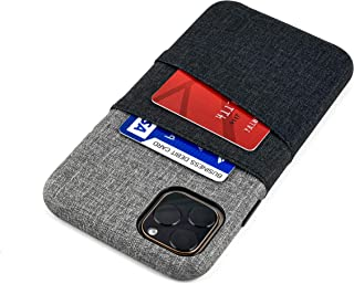 Dockem Luxe M2 Card Case for iPhone 11 Pro Max (6.5): Built-in Invisible Metal Plate, Designed for Magnetic Mounting: Slim Canvas Style Synthetic Leather Wallet Case (Black & Grey)