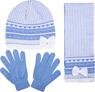 Jacquard Knit Hat with Bow, Scarf and Glove Set