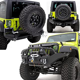Restyling Factory -Rock Crawler Full Width Front Bumper w/ Winch Plate+Rear Bumper with Tire Carrier and 2