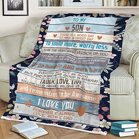 Nchjjo to My Son Never Forget That I Love You Plush Blanket Beach Throws Travel Easy to Pack Away Super Soft Suitable for 4 Seasons White 40x59 inch