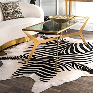 nuLOOM Striped Handmade Cowhide Shaped Rug, 5' x 7', White