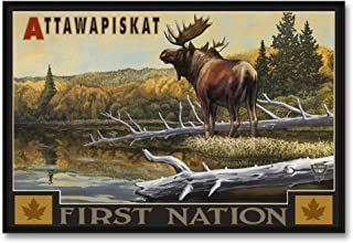 Attawapiskat Ontario Canada First Nation Moose Professionally Framed Giclee Archival Canvas Wall Art for Home & Office fro...