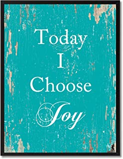 Today I Choose Joy Quote Saying Canvas Print Home Decor Wall Art Gift Ideas, Black Picture Frame, Aqua, 13