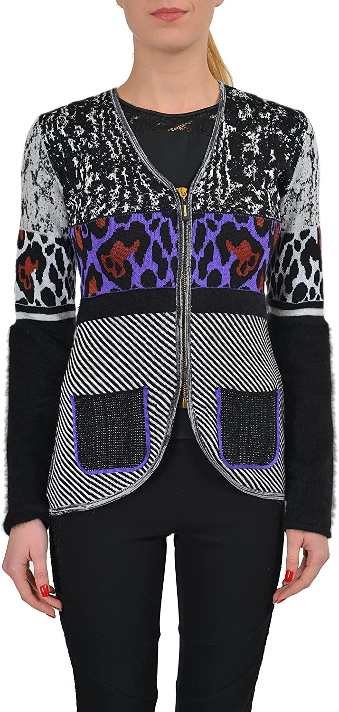 Just Cavalli Women's Wool Angora Multicolor Full Zip Knitted Sweater US S IT 40