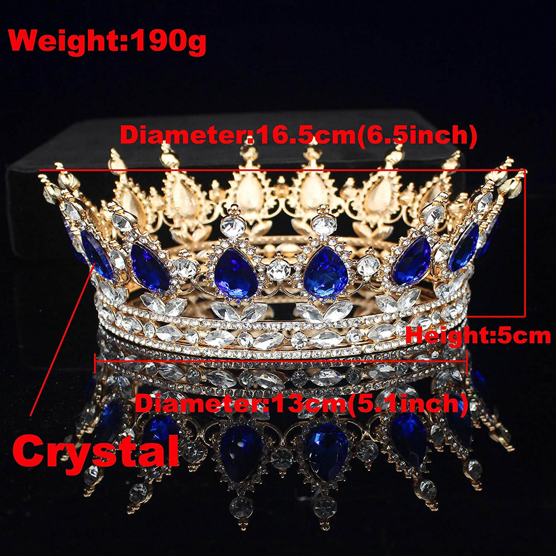 Haaraccessoires voor Vrouwen Goud Koningin Koning Bruiloft Tiara Kroon Bruids Kristal Diadeem Vrouwen/Mannen Hoofdtooi Prom Bruid Pageant Hoofd B B