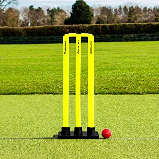 Flexi Cricket Stumps [Rubber Based] | Fluro Yellow Plastic Stumps & Bails (100% Portable)