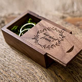 How about forever? Walnut Ring Box with moss filling for Proposals & Engagements - Small Wedding Ring Bearer Box Photo Prop