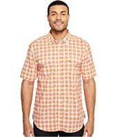 True Grit - Soho Plaid Short Sleeve Two-Pocket Shirt Stitch Detail Vintage Washed