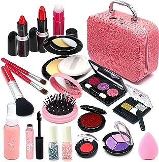 کیت آرایشی Senrokes Pretend Makeup Cosmetic Toy Toy Fake Play Makeup Rubber Set with کیف آرایشی دخترانه ، آرایش اسباب بازی ایمن و غیر سمی عروسک تولد دخترانه برای دختران 4-10 ساله متناسب با نقش بازی ، لباس شاهزاده خانم