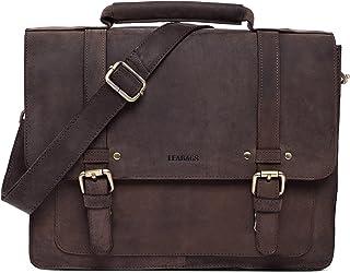 LEABAGS Omaha Leder-Umhängetasche I Laptoptasche bis 15 Zoll I Messenger Bag aus echtem Büffel-Leder I Aktentasche I Vintage Ledertasche I Bürotasche I Arbeitstasche I 36x31x9 cm