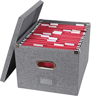 ATBAY File Storage Box Collapsible Large Capacity Office File Organizer for Letter/Legal Size Hanging File Folder Box, Gra...