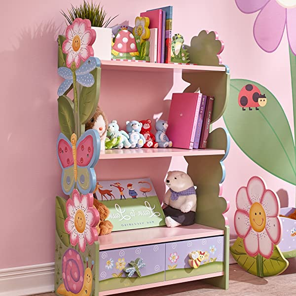 Fantasy Fields Magic Garden Wooden Kids Bookcase With Hand Crafted Designs And Toy Storage Pink