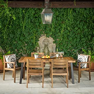 Christopher Knight Home 301108 Avalon 7 Piece Acacia Wood Dining Set with Rustic Metal Accents, Teak Finish