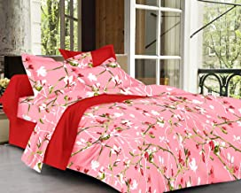 Trance Home Linen 100% Cotton 180TC Printed Single Fitted Bedsheet with 1 Pillow Cover (Peach Floral)