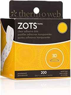 "THERMOWEB Zots Clear Adhesive Dots, 3D, 1/2"" Diameter x 1/8"" Thick, 3-D"