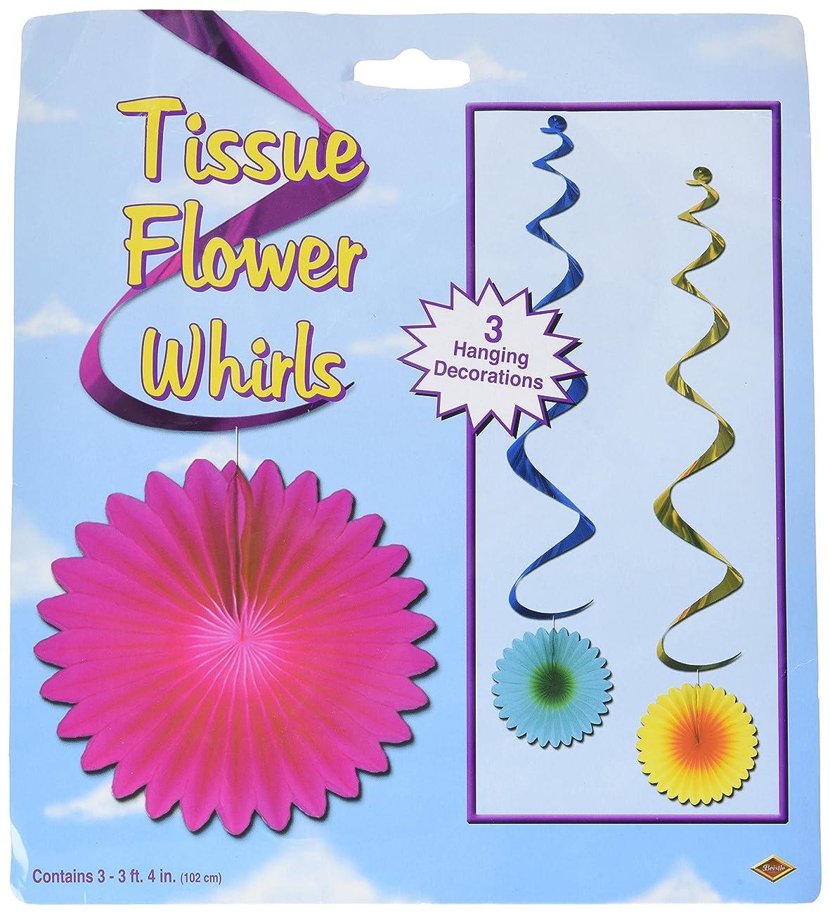 Beistle 57593 3-Pack Tissue Flower Whirls, 3-Feet 4-Inch