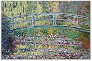 Monet Wall Art Collection Canvas Japanese Bridge (The Water-Lily Pond), 1899 07 Prints Wrapped Gallery Wall Art | Stretched and Framed Ready to Hang 24X32