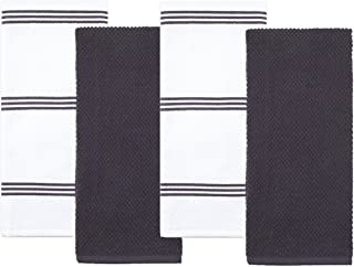 Sticky Toffee Cotton Terry Kitchen Dish Towel, Gray, 4 Pack, 28 in x 16 in