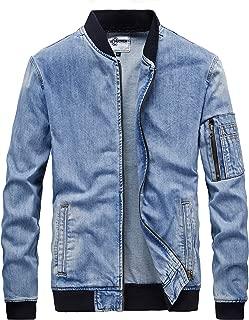 Men's Zip-Front Denim Bomber Jacket Classic Trucker Jean Jacket
