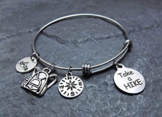 Take a Hike Hiking Charm Bracelet Expandable Stainless Steel Bangle with mountain compass backpack