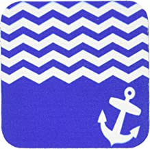 3dRose CST_120201_1 Navy Blue and White Chevron with Nautical Anchor Sailor Zig Zag Pattern Waves Sea Ocean Zigzags Soft Coasters, Set of 4