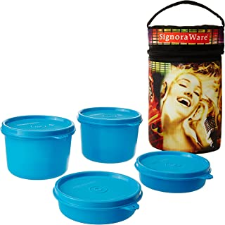 Signoraware Jazz Executive Big Lunch Box with Bag Set, 4-Pieces, Blue