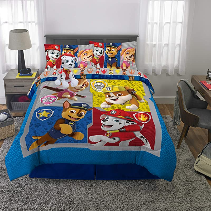 Franco Kids Bedding Super Soft Comforter With Sheets And Plush Cuddle Pillow Set 6 Piece Full Size Paw Patrol