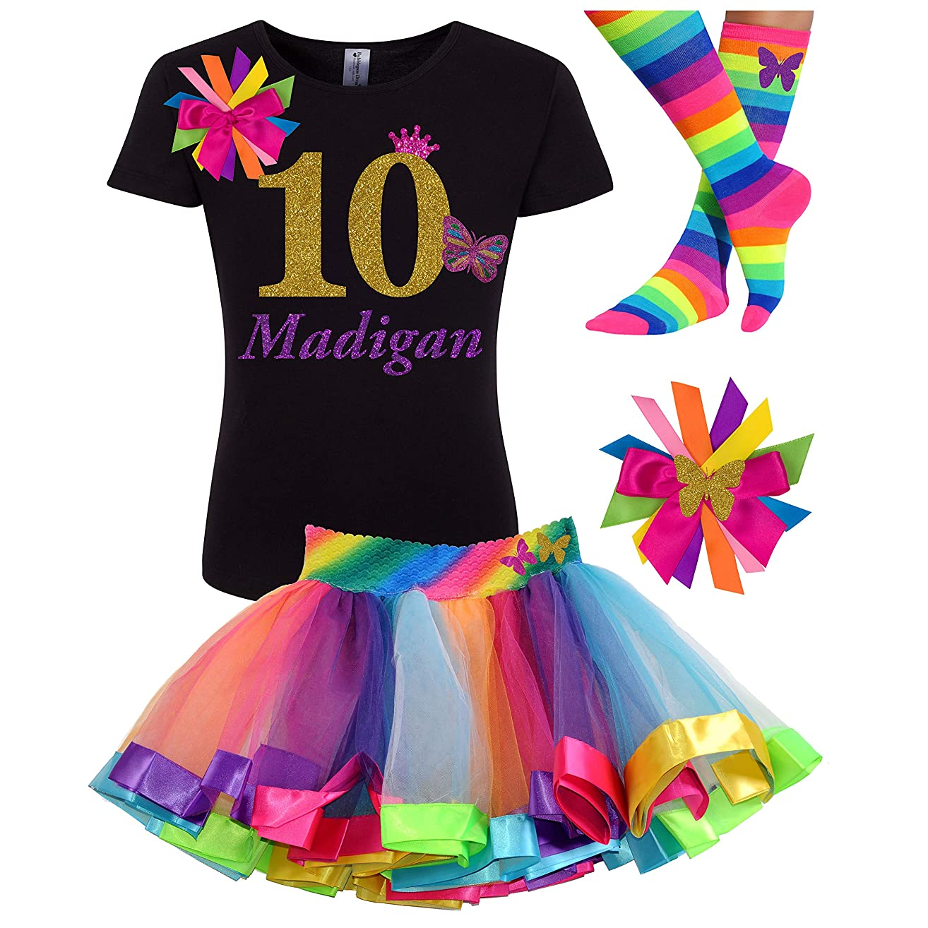 10th Birthday Girl Butterfly Outfit Gold 10 Black Shirt Rainbow Party Gift Set Personalized Name