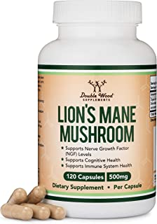 Lions Mane Mushroom Capsules (Two Month Supply - 120 Count) Vegan Supplement - Nootropic to Support Brain Health, Neuron G...