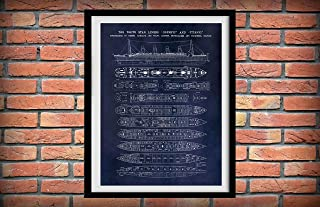 Arvier RMS Titanic Poster Vers 2 Titanic Poster Titanic Blueprint Titanic Decor Titanic Cutaway Drawing Titanic Deck Plans Framed Wall Art