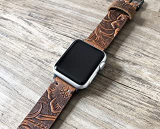 Apple Watch Band 40mm 38mm 42mm 44mm Custom Distressed Brown Western Tooled Floral Genuine Leather Womens iwatch Strap With Gift Box Series 5 4 3 2 1