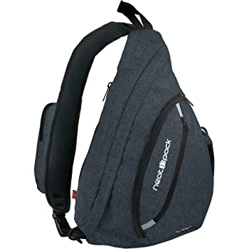 Versatile Canvas Sling Bag/Urban Travel Backpack, Black   Wear Over Shoulder or Crossbody for Men & Women, by NeatPack