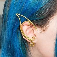 Alyon earcuff Orecchini orecchie elfiche gioiello in filo wire dorato per costumi e matrimoni stile boho gotico