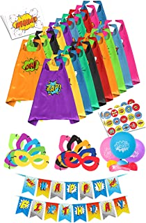 Superhero Capes for Kids Toys - Super Hero Birthday Party Supplies - Dress Up Clothes for Boys and Girls – Pinata Heroes Costumes, Masks, Stickers, Balloons and Banner Favors Set (Bulk) (20 Pack)