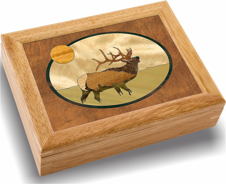 MarqART Elk Wood Art Box - Special price Trinket Handmade in Jewelry Wholesale USA