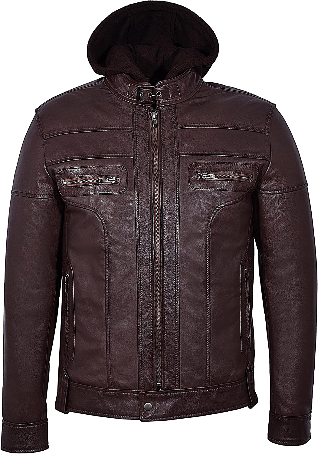 CLARK Mens Brown Hooded Casual Stylish Designer Bikers Real Soft Leather Jacket 8344