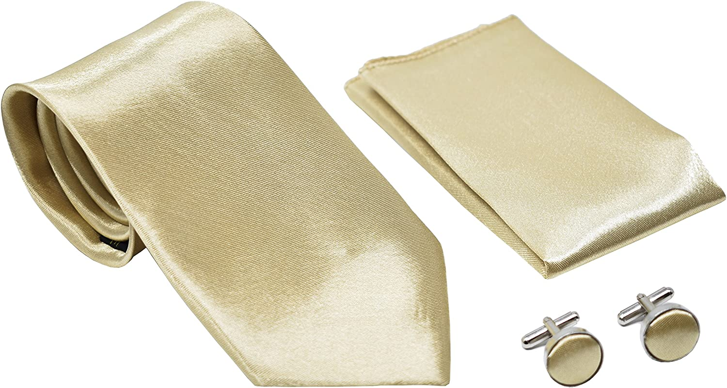 Kingsquare Solid Color Men's Tie, Pocket Square, and Cufflinks matching set
