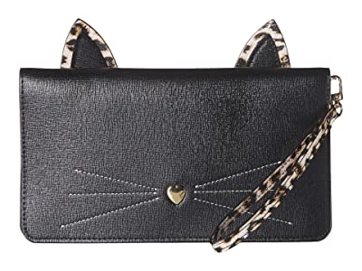 Collection XIIX Cat Zip Clutch (Black) Handbags