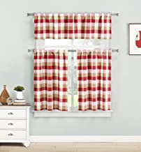 Home Maison - Kingsville Plaid Gingham Checkered Kitchen 3 Piece Window Curtain Tier and Valance Set, 2 29 x 36 and One 58 x 15 -, Red
