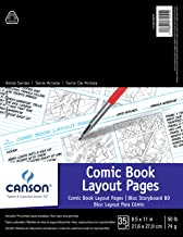 CANSON 100510877 Comic Book Layout Pages Paper Pad with Preprinted, Non-Reproducible, Blue Lines, 50 Pound, 8.5 x 11 Inch,...