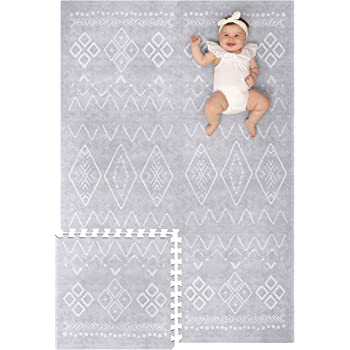 Lillefolk Modern Baby Play Mat - Soft, Thick, Non-Toxic Foam - 6ft x 4ft - Large Kids Floor Mat with Interlocking Puzzle Tiles for Crawling and Tummy Time (Gray)